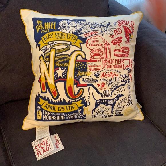 NWT Embroidered North Carolina Pillow